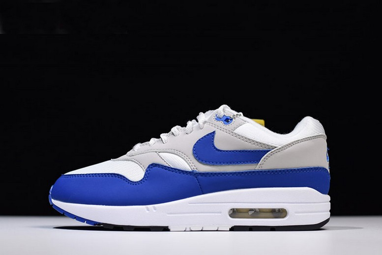"Nike Air Max 1 OG Anniversary ""Royal"" White Game Royal Neutral Grey 908375-101 Shoes"