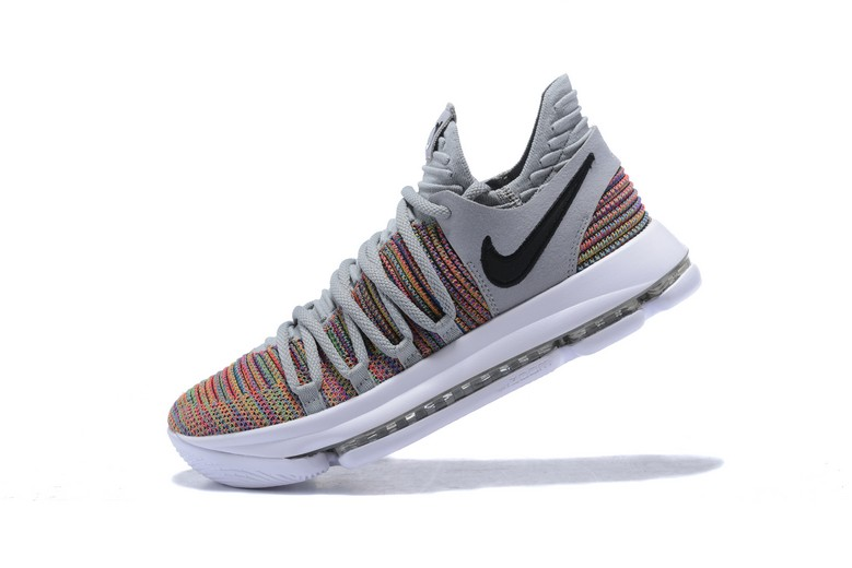Mens Nike KD 10 Multi-Color Black Cool Grey White 897815-900 Shoes