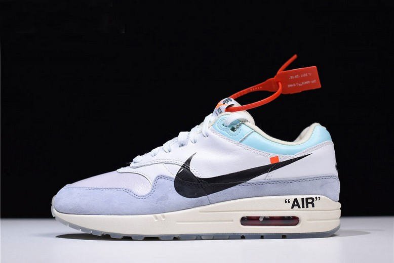 Mens Off White x Nike Air Max 1 White Light Blue Black AA3827-100 Shoes