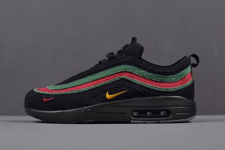 Nike Air Max 1 / 97 VF SW Black Green Red AJ4219-036 Running Shoes