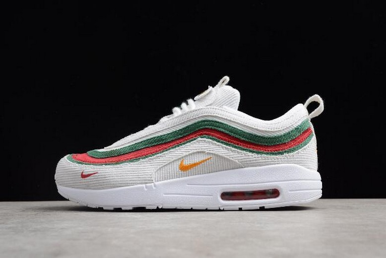 Nike Air Max 1 / 97 VF SW White Red Green AJ4219-163 Running Shoes