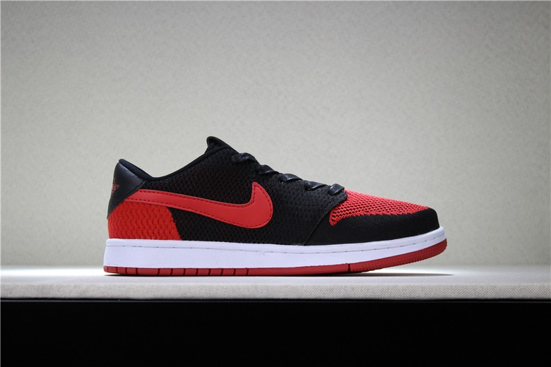 "Air Jordan 1 (I) Retro Low Flyknit ""Banned"" Black Varsity Red White Shoes"