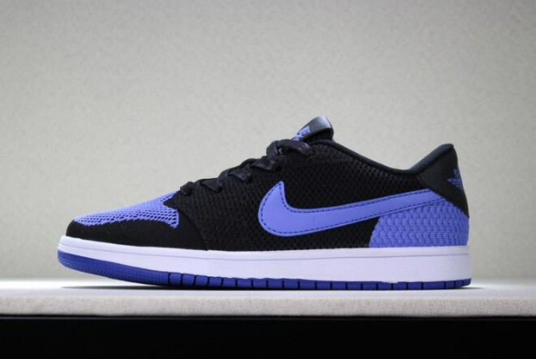 "New Air Jordan 1 Low Flyknit ""Royal"" Black Game Royal White Mens Basketball Shoes"