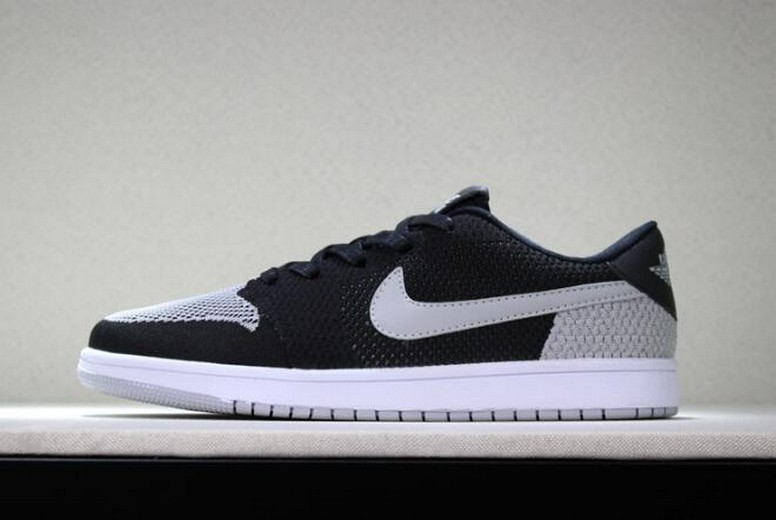 "New Air Jordan 1 Low Flyknit ""Shadow"" Black Wolf Grey White Mens Basketball Shoes"
