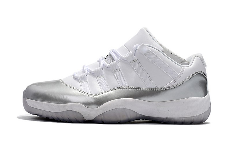 New Air Jordan 11 (XI) Retro Low White Metallic Silver 833001-102 Shoes