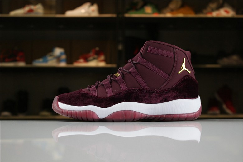 "Air Jordan 11 Heiress ""Red Velvet"" Night Maroon Metallic Gold 852625-650"