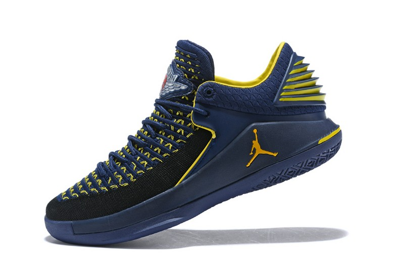 "New Air Jordan 32 Low ""Michigan"" PE College Navy Maize Yellow Mens Basketball Shoes"