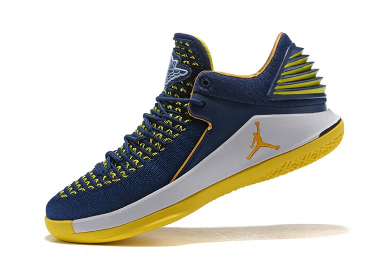 New Air Jordan 32 Low Navy White Maize Yellow Mens Basketball Shoes
