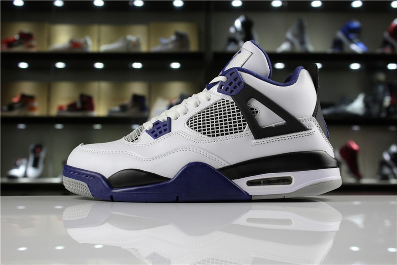 "Mens Air Jordan 4 Retro ""Motorsport"" White Game Royal Black 308497-117"