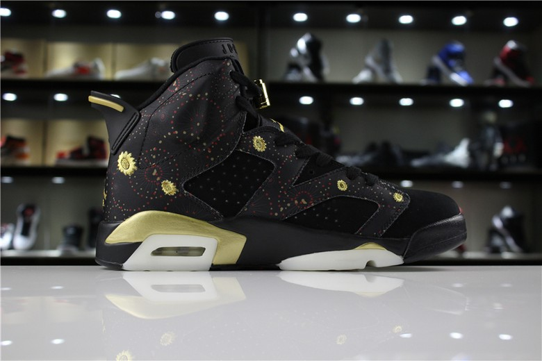 "Mens Air Jordan 6 ""CNY"" Black Multi-Color Summit White Metallic Gold"