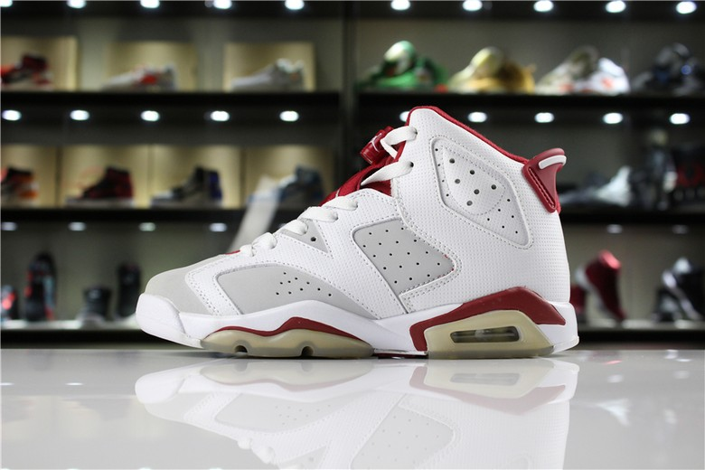 "New Air Jordan 6 VI ""Hare"" White Pure Platinum-Gym Red 384664-113"