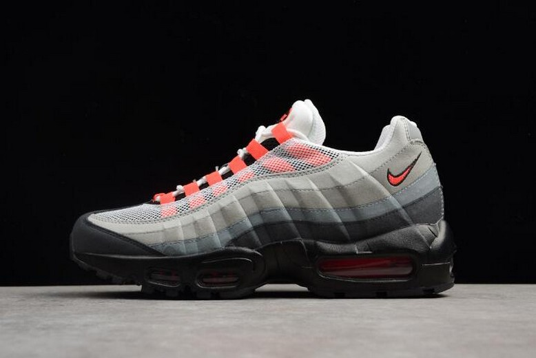 Nike Air Max 95 White Solar Red Neutral Grey Mens Running Shoes 609048-106