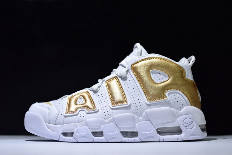 Nike Air More Uptempo White Metallic Gold Mens Shoes