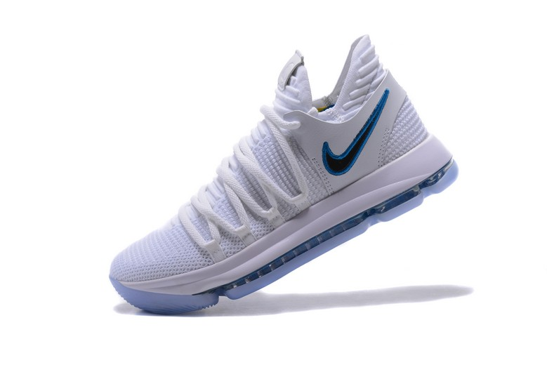 "Nike KD 10 ""Numbers"" White Game Royal University Gold 897815-101 Basketball Shoes"