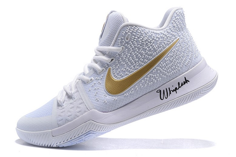 Nike Kyrie 3 White Metallic Gold Christmas Day Mens Basketball Shoes