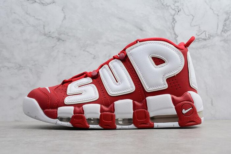 Supreme x Nike Air More Uptempo Red White Mens Shoes 902290-600