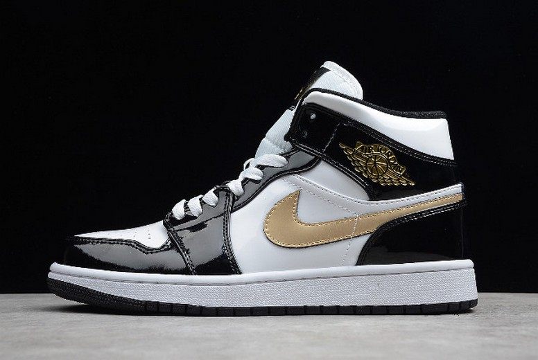 Air Jordan 1 Mid Patent Leather Black and Gold 852542-007 Shoes