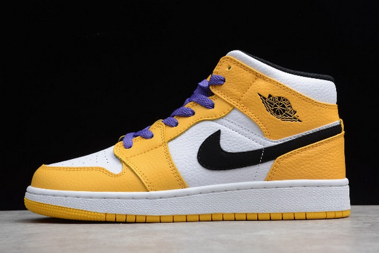 "2019 Mens Air Jordan 1 Retro Mid SE ""Lakers"" White Yellow Purple Black BQ6931-700 Shoes"