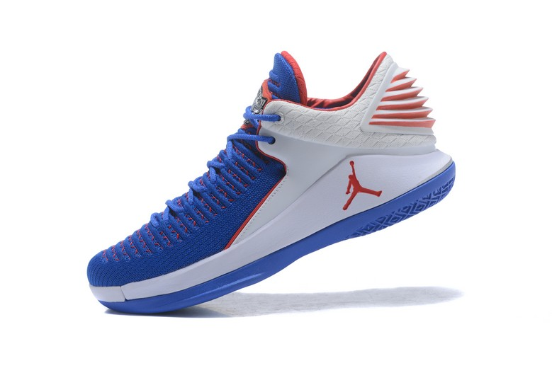 "Air Jordan 32 (XXXII) Low ""Andre Drummond"" PE Royal White Red Shoes"