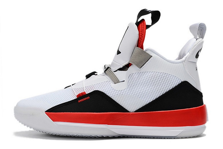 "2019 Air Jordan 33 ""Fire Red"" White Fire Red Black Basketball Shoes"