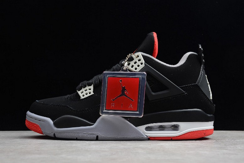 "Air Jordan 4 (IV) Retro ""Bred"" Black Red 308497-089 Shoes"
