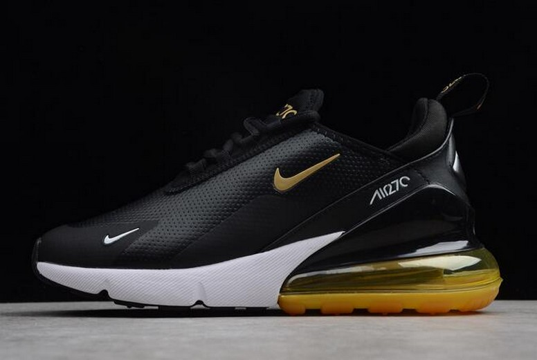 Nike Air Max 270 Premium Black Yellow White Mens Running Shoes