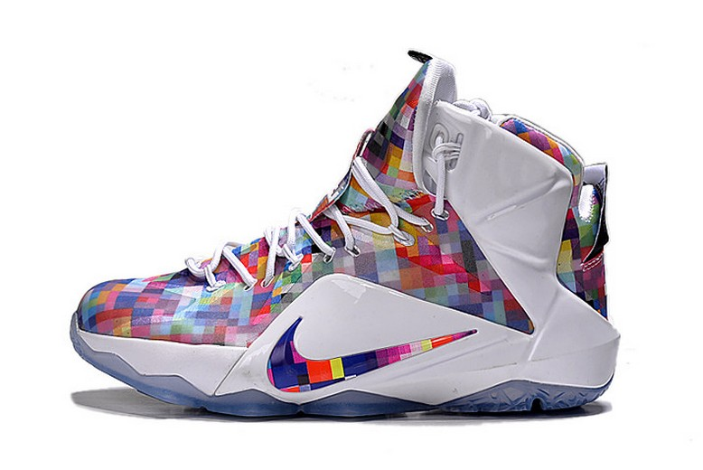 "Nike LeBron 12 (XII) EXT ""Prism"" Multi-Color University Red White 748861-900 Shoes"
