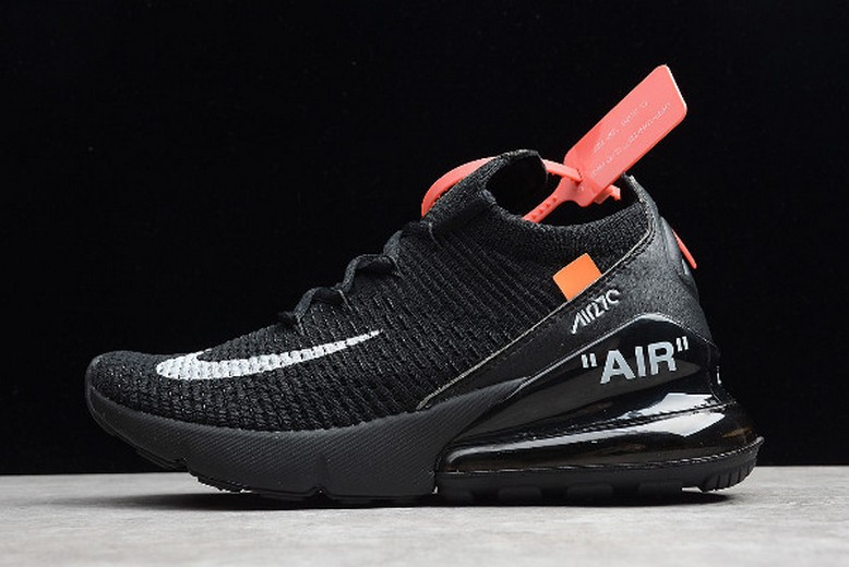 Off White x Nike Air Max 270 Flyknit Black White AH6789-011 Shoes