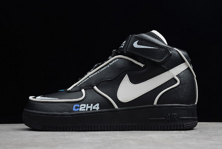 C2H4 x Nike Air Force 1 Mid 3M Black Leather White Blue BQ7541-001 Shoes