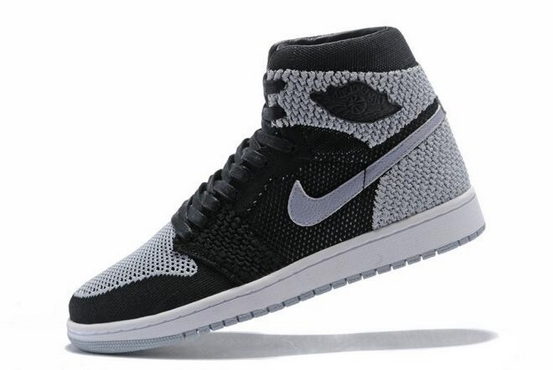 Mens Air Jordan 1 Flyknit Shadow Black Medium Grey White 919704-003 Shoes