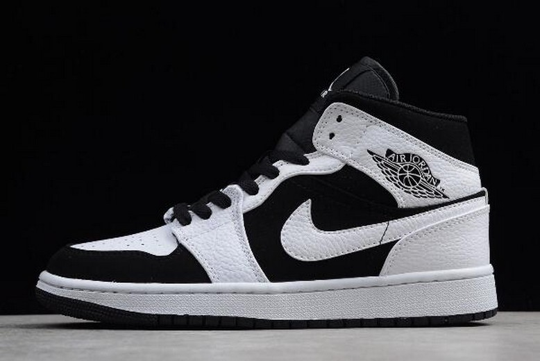 "Mens Air Jordan 1 Mid ""Tuxedo"" White Black White 554724-113 Shoes"