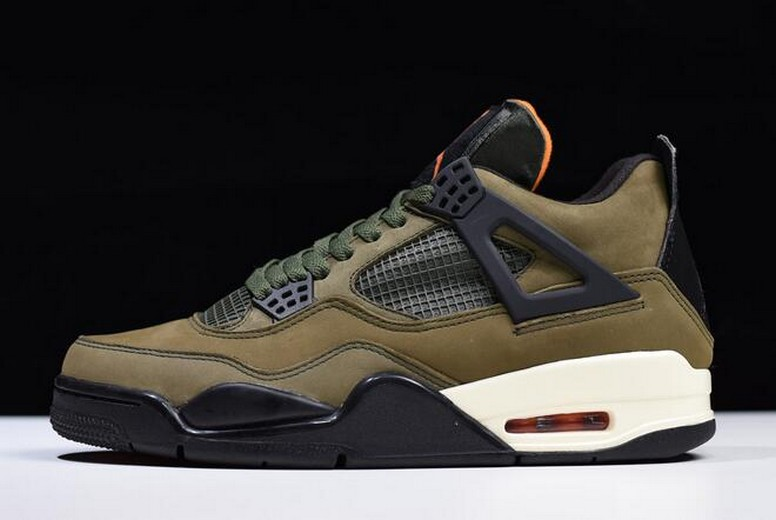 "Mens Air Jordan 4 (IV) Retro ""Undefeated"" Olive Green Black Orange Shoes"