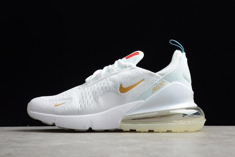 "Mens Nike Air Max 270 Flyknit ""FIFA World Cup"" French Champion White Gold AH8050-119 Shoes"