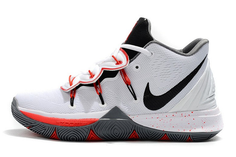 Mens Nike Kyrie 5 PE White Black Red Grey Basketball Shoes