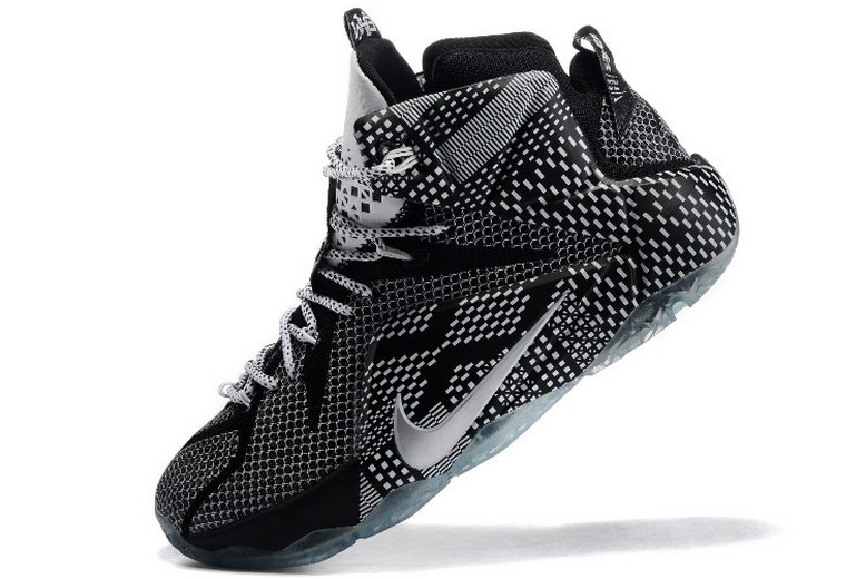 "Mens Nike LeBron 12 (XII) ""BHM"" Black White Metallic Silver 718825-001 Basketball Shoes"