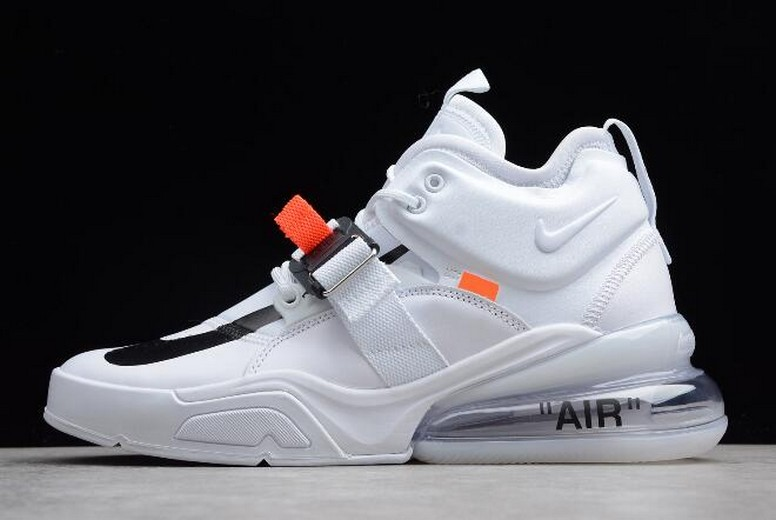 Mens Off White x Nike Air Force 270 White Black Running Shoes