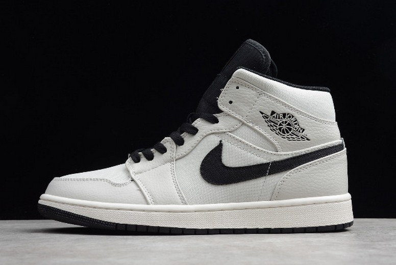 "Womens Air Jordan 1 GS Mid SE ""Canvas"" Light Bone Cone Black Sail 852542-002 Shoes"