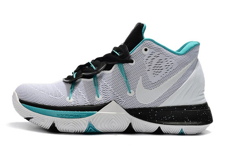 Newest Nike Kyrie 5 White Black Blue Baskebtall Shoes