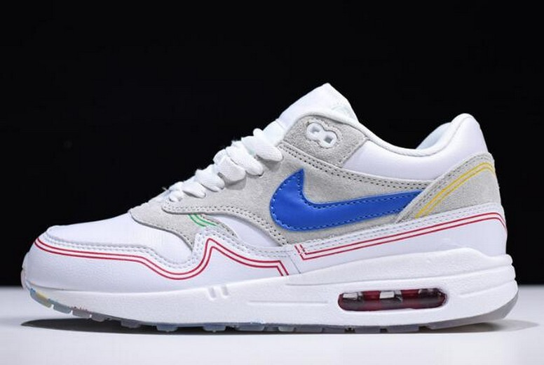 "Nike Air Max 1 ""Centre Pompidou"" Pure Platinum Royal Blue White AV3735-002 Shoes"