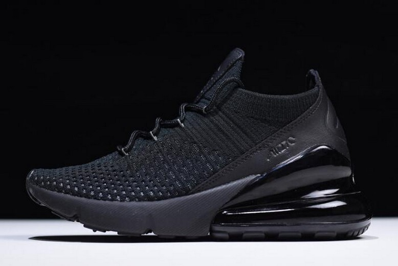 "Nike Air Max 270 Flyknit ""Triple Black"" AO1023-005 Running Shoes"