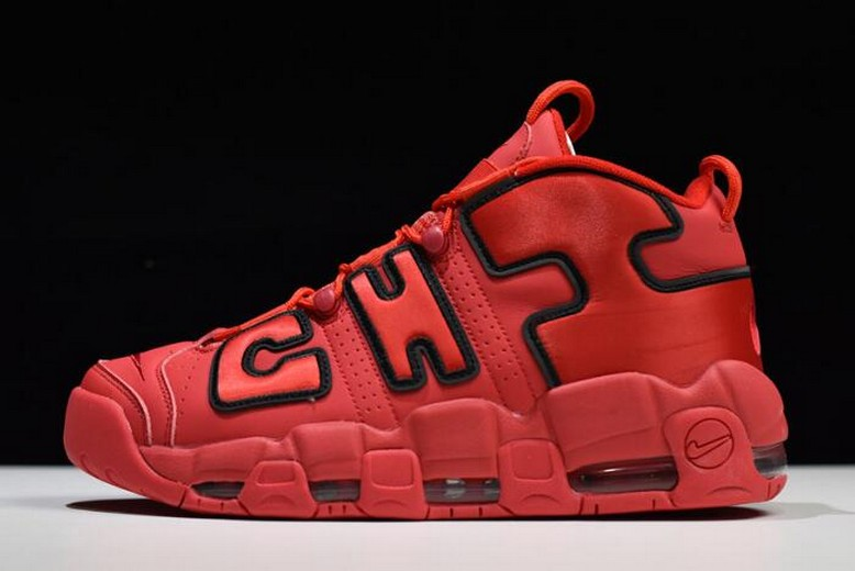 "Nike Air More Uptempo Chi ""Chicago"" University Red Black AJ3138-600 Shoes"