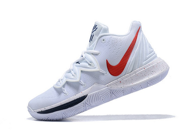 Nike Kyrie Irving 5 White Red Navy Blue Basketball Shoes