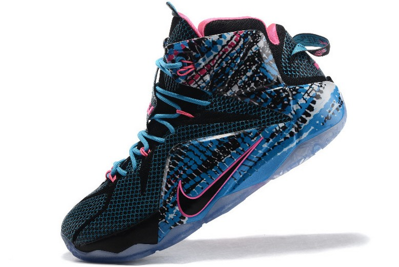 "Nike LeBron 12 (XII) ""23 Chromosomes"" Black Blue Lagoon Pink 684593-006 Shoes"