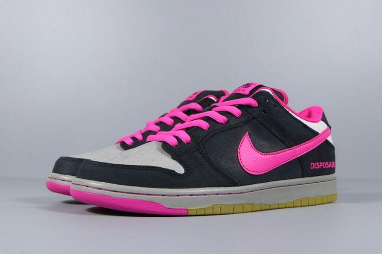 "Nike SB Dunk Low Premium QS ""Disposable"" Black Pink Foil White 504750-061 Shoes"