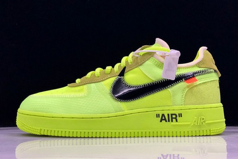 "Mens Off White x Nike Air Force 1 Low ""Volt"" AO4606-700 Shoes"