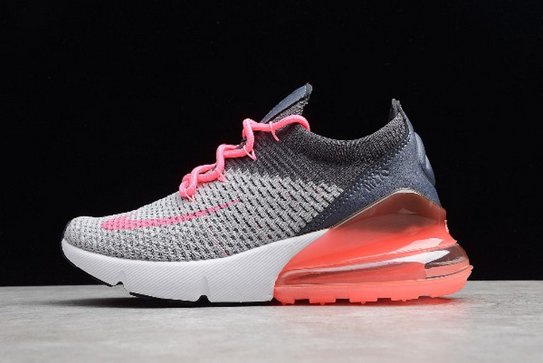 Womens Nike Air Max 270 Flyknit Grey Pink White Running Shoes